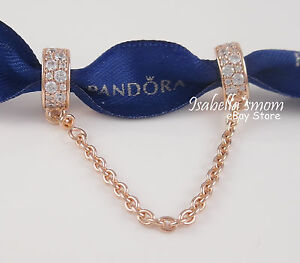 SHINNING ELEGANCE Athentic PANDORA Rose GOLD Plated/ZIRCONIA Safety Chain NEW