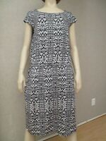 Athleta Bodice Athletic Black White Print Jersey Knit Dress Women's sz L New NWO