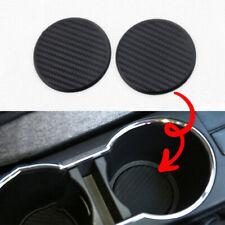 2Pcs Auto Car Accessories Water Cup Slot Non-Slip Carbon Fiber Look Mat Black