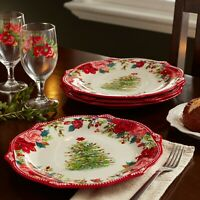 Set Of 4 Cheerful Rose Christmas Tree Holiday Dinner Plates Pioneer Woman New