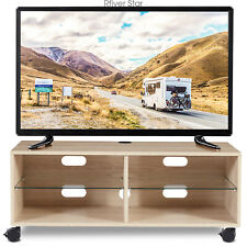 Rolling Wood Corner TV Stand Entertainment Center TV Stand for up to 65 inch