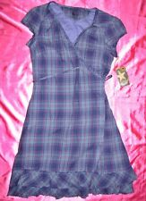 CONVERSE ONE STAR VINTAGE 1908 Plaid Purple Blue Green Gauze India Dress Small