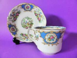 "Vintage Foley ""Broadway"" Tea Cup & Saucer, 1930's Bone China Teacup Duo,"