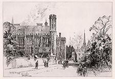 """Herbert Railton ORIGINAL 1800s Etching """"Lincoln's Inn Hall"""" SIGNED Framed COA"""