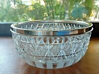 Hawkes American Brilliant Cut Glass Serving Bowl Sterling Silver Rim Circa 1910