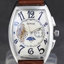 SEWOR ( Watch Tonneau Style) Self Automatic Brown Band  Mens Women Watch.