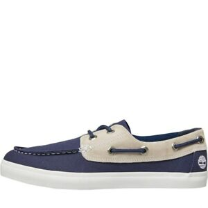 Timberland Mens Union Wharf F/L 2 Eye Canvas boat shoes navy