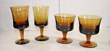 Lot of 4 Vintage Denby Milnor Sweden Arabesque Amber Glasses Sherbet Wine Water