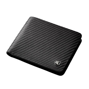 Mens Leather Wallet RFID Blocking Carbon Fibre Bi-fold Card Holder Black POWR