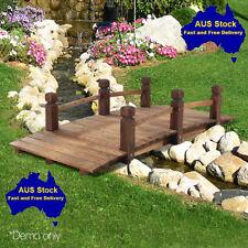 Wooden Garden Bridge Rustic Outdoor Feature Landscape 160Kg Weight Limit