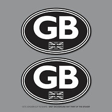 SKU2548 - 2 x GB Oval Sticker EU Car Badge Vinyl 75mm x 50mm
