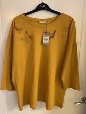 Ladies Bnwt TU Yellow Ochre Butterfly Oversized Loose Top Size 20