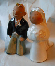 Vintage Sorcha Boru California Pottery Bride Groom Salt Pepper Wedding Toppers