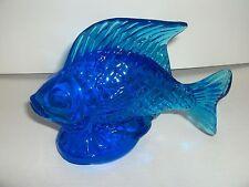 BEAUTIFUL & HEAVY ART GLASS AZURE BLUE FISH PAPERWEIGHT FIGURINE - MINT!