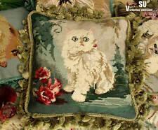 Vtg Needlepoint Pillow Cushion Fringe Animal EMERALD- Persian CAT Princess Roses