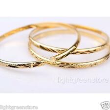 3 Pcs Women's 18k Yellow Gold Filled Carved Bangle 60mm dia Bracelet GF Jewelry
