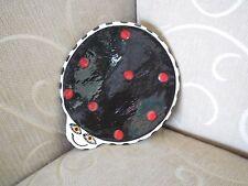 Signed ALISON PALMER Art Pottery Handmade Ladybug Soap Dish/Small Jewelry Plate