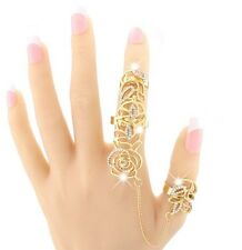 Womens Alloy Flower Hollow Design Double Finger Rings with Link Chain Gift S9