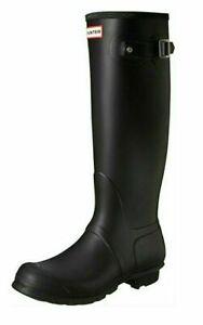 Hunter Women's Original Tall Matte Rain Boot Black Rubber,  Pick a Size