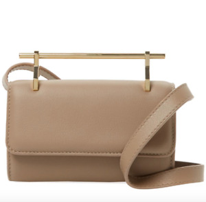 M2Malletier Fabricca Leather Clutch Shoulder Bag Sand $1290