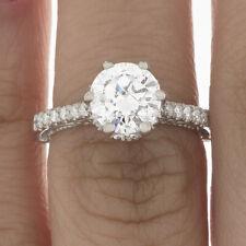 GIA Certified Round Cut Diamond Engagement Ring 18k White Gold  2.69 carat