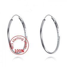 Solid .925 Sterling Silver Hoop Drop Dangle Earrings.  Easy to wear-Gift