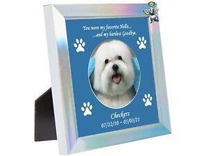 Rainbow Bridge Engraved Photo Frame Personalized Pet Memorial Dog or Cat Angel