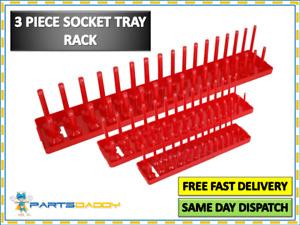 "RED 3 PIECE SOCKET STAND TRAY RACK STORAGE RAIL HOLDER 1/2"" 3/8"" 1/4"" CT2621"