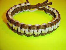 Original 550 ParaCord Cobra Braided Reversible Bracelet - Coyote Brown & White