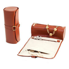 Bey Berk Tan Leather Jewelry Roll w/Zippered Compartments Watches/Bracelets