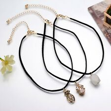 Multi-layer Velvet Choker Chain Pendant Necklace Pineapple Natural Stone