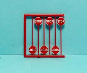 HO Scale Tichy Train Group Scenery Accessories 6 Pcs. Modern Red Stop Signs 5HO