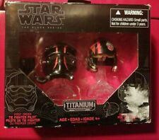 Star Wars Black Series #04 First Order Tie Pilot & Poe Dameron Helmets Titanium