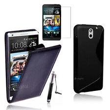 BLACK FLip & Gel 4in1 Accessory Bundle Kit Case Cover For HTC Desire 610