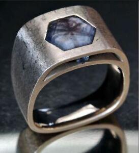 Broad Statement Men's Ring Hexagon Shape Sim Diamond Solid 925 Sterling Silver