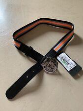 New $120 Armani Junior Boy Leather/Canvas Belt Black/Yellow M US ( 66 Eu ) Ita