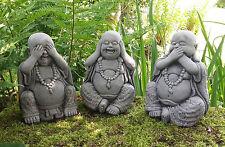 STONE GARDEN SET OF 3 WISE HAPPY BUDDHA ORNAMENTS HEAR NO, SEE NO, SPEAK NO EVIL