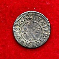 #1664 - RARE - Denier tournois 1650 A Paris Gaston d'Orléans - FACTURE