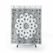 White Bandana Shower Curtains