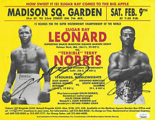 Sugar Ray Leonard vs Terry Norris Dual Autographed Fight Flyer JSA COA
