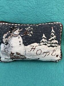 """VTG Tapestry Christmas/Winter Accent/Toss Pillow•Snowman """"HOPE""""•Sandi Gore Evans"""