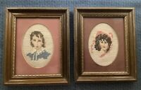 Vintage Antique Lot Of Two Handmade Needlepoint Picture Blue Boy And Pinkie