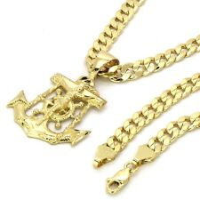 "Mens 14k Gold Plated Jesus Anchor Pendant 6mm 24"" inches Cuban Necklace Chain"