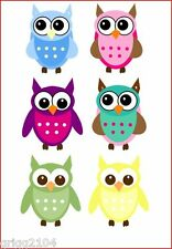 6 Colourful Owls iron on transfers