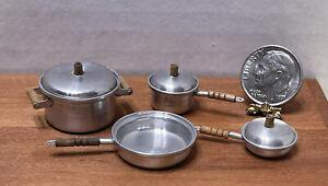 Vintage UK Artisan T&E BROWNAWELL Aluminum Pots & Pans Dollhouse Miniature 1:12
