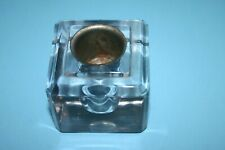 ANTIQUE VINTAGE GLASS OR CRYSTAL SQUARE INKWELL BOTTLE WITH INSERT