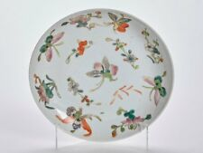 ANTIQUE CHINESE ASIAN MARKET FLORAL & BUTTERFLY PLATE 19 C