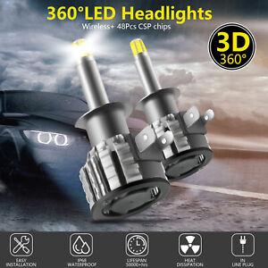 2Pcs 4Sides H1 Led Car Headlights Bulbs Canbus Headlight bulbs Conversion Kit