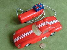 VINTAGE TOY SPORTS CAR - LIGHTS -  REMOTE CONTROL 1970S WORKING HONG KONG