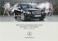 1080MB Mercedes C-Klasse Sport Edition Edition+ Preisliste 2005 31.1.05